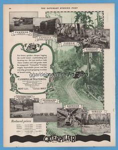 1928 Caterpillar Crawler Tractor San Leandro CA Peoria IL Logging photo print Ad