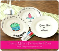 DIY How to Make a Personalized Birthday Plate www. DIY How to Make a Personalized Bi Painted Ceramic Plates, Ceramic Painting, Diy Painting, Decorative Plates, Pottery Painting, Rock Painting, Sharpie Plates, Porcelain Pens, Giving Plate