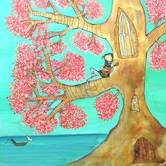 Tocando la guitarra sobre árbol rosa por johannawright