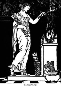 This picture depicts Vesta keeping the sacred fire of Rome lit. In Greek mythology, Hestia (Vesta) did not play a such a large role as Vesta did for the Romans.