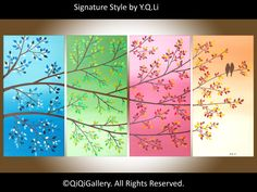 Art Painting landscape Painting Love Birds Palette Knife Hand made Four season trees painting Wall Décor QIQIGALLERY. $425.00, via Etsy.