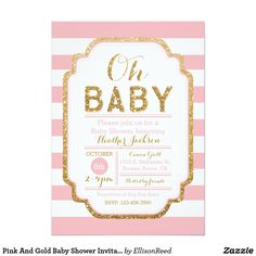Printable Baby Shower Invitation Templates FREE Shower Invitations - Pink and gold baby shower invitations template