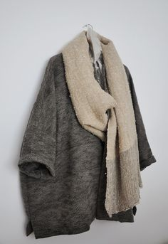 handwoven cashmere and merino coat + handwoven linen and silk wrap, each piece hand finished and one of a kind. all textiles are woven and hand stitched by a tailor in London (available beginning January 2013 Looks Style, Style Me, Casual, Mode Style, Pulls, My Wardrobe, Ideias Fashion, Textiles, Knitwear