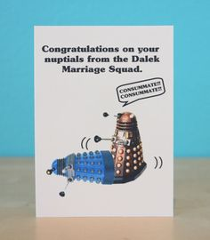Dalek Doctor Who wedding card  sci-fi  funny  by comradecards