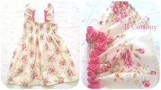 Vestido de elásticos cru com flores e renda de algodão cor de rosa fuschia - Elasticated dress with flowers and pink lace fuschia  Follow us on instagram:  https://www.instagram.com/bcottonyforchildren/