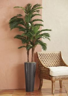 "Tall Faux Palm Tree from Midnight Velvet®. nvite tropical breezes into your imagination, even if they elude your daily life. This tall potted faux palm evokes dreams of vacations in sunny climes. ""Plant"" it anywhere that could use a touch of island style. Plastic tree and pot."