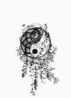 Kritzelei Tattoo, Mandala Tattoo, Body Art Tattoos, Tattoo Tree, Tattoo Fonts, Arte Yin Yang, Yin Yang Art, Yin And Yang, Ying Et Yang