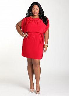 Red sleeveless sash dress