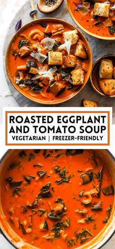 Roasted Eggplant Soup with white beans, kale, and pasta in a creamy tomato broth. This cozy tomato eggplant soup will be an instant family favorite. #soup #souprecipes #tomatosoup #vegetablesoup #vegetariansoup #fallrecipes Quick Soup Recipes, Healthy Vegetable Recipes, Delicious Dinner Recipes, Healthy Soups, Vegetarian Soup, Vegetarian Recipes, Thai Recipes, Italian Diet, Thai Pumpkin Soup