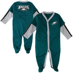 Philadelphia Eagles Newborn Long Sleeve Jersey Coverall – Midnight Green