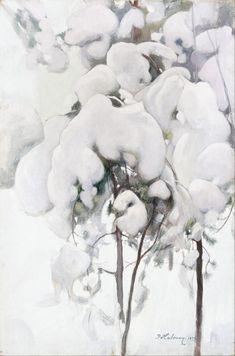 Snow-Covered Pine Seedlings, 1899 by Pekka Halonen (Finnish, Winter Landscape, Landscape Art, Landscape Paintings, Romantic Paintings, Old Paintings, Winter Trees, Winter Art, Nostalgic Pictures, Winter Magic