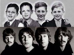 Ringo, Paul, John and George as lads and later as Beatles