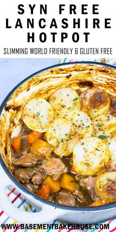 This healthy, Syn Free Lancashire Hotpot recipe is the perfect Slimming World dinner recipe to make the whole family happy. It's also gluten free! A delicious, healthy and Syn Free Lancashire Hotpot recipe - the perfect Slimming World dinner. Slimming World Free, Slimming World Dinners, Slimming World Recipes Syn Free, Slimming Eats, Slimming World Pasta, Slimming Worls, Slimming World Lunch Ideas, Slimming World Fakeaway, Slimming World Breakfast