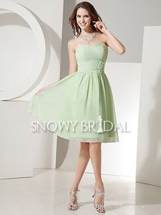 Carli! Sage Knee Length Chiffon Ruched Sweetheart A-Line Bridesmaid Dress - US$ 74.99 - Style B1037 - Snowy Bridal