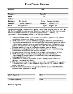 Perfect Event Planner Contract Template For WORD | Word U0026 Excel Templates  How To Write An Event Proposal