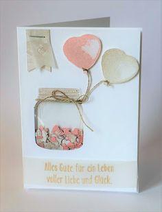 Hochzeitskarte / Wedding Card, Stampin Up, Glasklare Grüße / Jar of Love, Balloon Builders, Unentbärliche Grüße / Baby Bear, Schüttelkarte / Shaker Card
