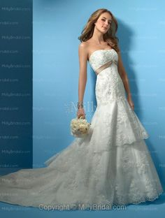 Trumpet/Mermaid Strapless Lace Button Lace Chapel Train Wedding Dress at Millybridal.com