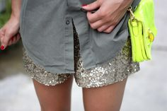 sequin shorts and ne