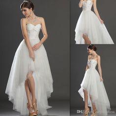 Hi Lo Wedding Dresses 2016 Sweetheart Appliques Beaded Tulle Bridal Gowns Simple Beach High Low Vestidos De Novia For Brides
