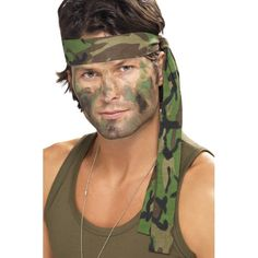 Mens Ladies Army Camouflage Rambo Headband Scarf Fancy Dress Costume Accessory - Go Shop Clothes Army Costume, Soldier Costume, Military Costumes, Military Dresses, Army Fancy Dress, Adult Fancy Dress, Fancy Dress Accessories, Costume Accessories, Army Makeup