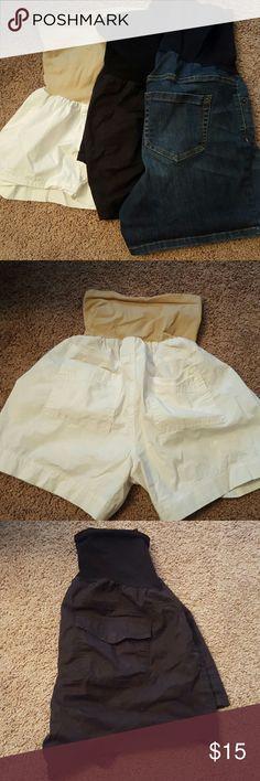 Shorts - Maternity 3 pairs of maternity shorts; black, white and denim $15 ($5 ea). liz Lange & Motherhood Maternity Shorts