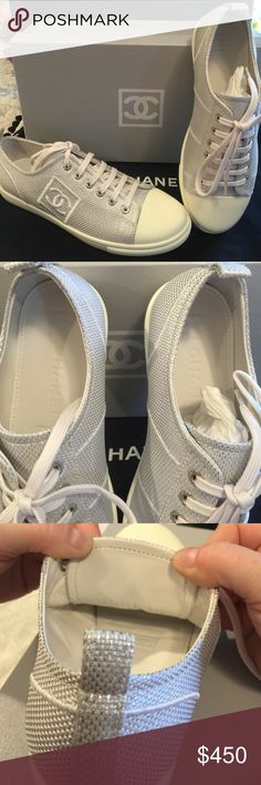 Chanel authentic sneakers tennis shoes NIB Silver Size 7.5 silver authentic Chanel sneakers. Comes with original box & are brand NEW!  Never worn. Selling for my mom. She loved them when she bought them. She has since had back & foot problems & has to wear ortho shoes. Message with any questions. CHANEL Shoes Athletic Shoes