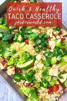 Why make one taco when you can make an entire pan? Get a tasty taco casserole with this quick and easy 30-minute healthy dinner recipe! Healthy Tacos, Healthy Appetizers, Healthy Dinner Recipes, Easy Taco Casserole, Casserole Dishes, Easy Oven Recipes, Bean Chips, Macro Friendly Recipes, Taco Ingredients