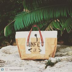 #Repost from @haviemnfct   Havie Becca Tote   made using recycled army cloth and vegetable  tanned leather. We love it!!! #havie #handmade  #handbag #haviemnfct #summer #travel #leather #army #vintage #sea #style