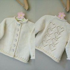 Unique New hand knitted lacy cardigan with knitted flower Baby Cardigan Knitting Pattern, Knitted Poncho, Baby Knitting Patterns, Knitted Baby Clothes, Knitted Baby Blankets, Free Baby Blanket Patterns, Baby Patterns, Knitting For Kids, Hand Knitting