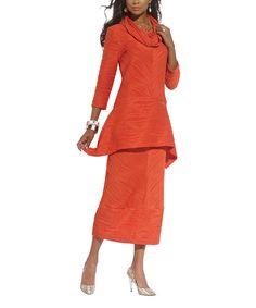 Look at this #zulilyfind! DONNA by Donna Vinci Orange Texture Cowl Neck Tunic & Midi Skirt - Women & Plus by DONNA by Donna Vinci #zulilyfinds