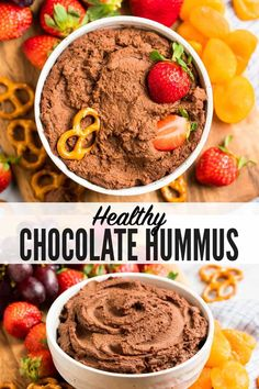 This healthy chocolate hummus recipe takes minutes to make and is an easy, unexpected, DELICIOUS appetizer, snack, or party dessert. Healthy Hummus Recipe, Healthy Dessert Recipes, Healthy Sweets, Easy Desserts, Healthy Snacks, Dessert Hummus Recipe, Healthier Desserts, Delicious Desserts, Healthy Eating