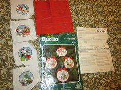 Vintage Bucilla Merry Snoopy Cross Stitch Peanuts Christmas Ornaments Kit 82010 #Bucilla #Ornaments