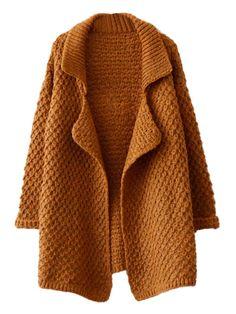 Khaki Lapel Chunky Knit Cardigan
