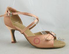 Natural Spin Basic Latin Shoes(Open Toe, Adjustable):  L1112-32_FleshCS