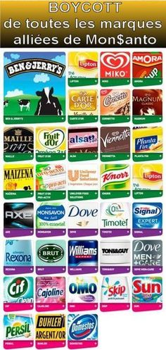 Boycott MONSANTO : the list of French companies to avoid to boycott Monsanto & GMOs Good To Know, Feel Good, Dove Men Care, Toni And Guy, Lost Money, Tomorrow Will Be Better, Grow Your Own Food, Green Life, Club
