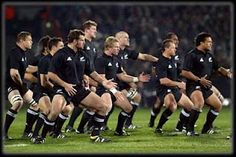 All Blacks rugby team performing the traditional Haka before a game