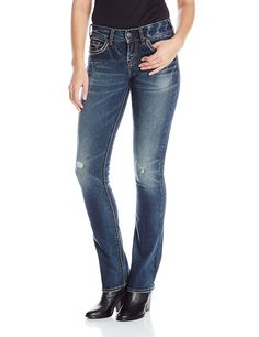 Silver Jeans Co. Women's Jeans Suki Mid Rise Baby Bootcut Jean *** Click image for more details.