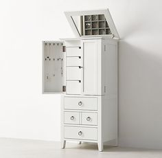 RH TEEN's Bryn Jewelry Armoire:Our collection is timeless and versatile – featuring simple lines and pared back styling. A waxed white finish, ring pulls and a multitude of storage options lend it modern sensibility.