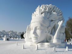 In frigid northeastern China, in the city of Harbin is hosting its 26th annual International Ice and Snow Sculpture Festival. Massive buildings built of ice from the frozen surface of the nearby Songhua River, large scale snow sculptures, ice slides, festival food and drinks can be found in several parks in the city. At night, visitors who endure the bitter cold will see the lights switched on, illuminating the sculptures from both inside and outside.