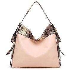 Snake Print Panel Shoulder Bag 26 Liked On Polyvore Featuring Bags Handbags