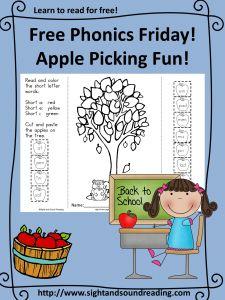 Free Phonics  -apple picking worksheet.