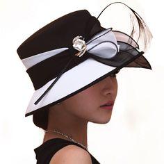 Womens Chiffon Hats Formal Fabric Feather Ascot Race Derby Church Dress Sun Cap #JunesYoung #ChurchDress #DerbyChurchWeddingCocktailEveningPartyBeach