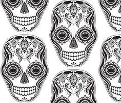 Dia de los Muertos That Girl Skull fabric by jazilla on Spoonflower - custom fabric