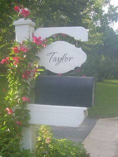 Welcome to the Taylor's. Mailbox post made by my husband. #MailboxLandscape