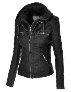 MBJ Womens Faux Leather Zip Up Moto Jacket With Hoodie at Amazon Women's Clothing store: