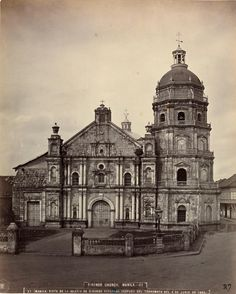 """Text in Spanish reads: Church of Binondo repaired after the Earthquake of June 1863 From the old photograph album book """"Album de Filipinas"""" Copyright: National Library of Spain Filipino Architecture, Philippine Architecture, Cultural Architecture, Historical Architecture, Colonial Architecture, Philippines Culture, Manila Philippines, Filipino Interior Design, Fort Santiago"""