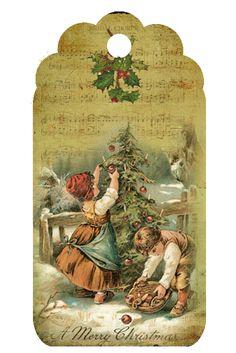 Vintage Christmas Tag ~ LÁMINAS VINTAGE,ANTIGUAS,RETRO Y POR EL ESTILO.... (pág. 800) | Aprender manualidades es facilisimo.com