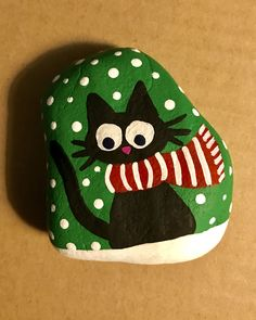 Cat scarf snow painted rock.. Easy Rock Painting Ideas For Fun | Childern | Kids | Art #rock #painting #paintart #fun