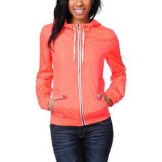 Neon Coral windbreaker jacket