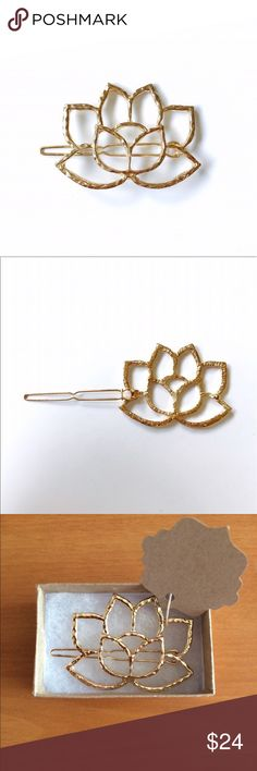 14k Gold plated Lotus Hair Clip This is a gorgeous, 14k gold plated, lotus hair clip.  Fairly traded, and made in India. Bondhu Accessories Hair Accessories